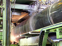 Production spirally welded pipe